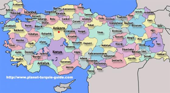 Turquie   Carte Géographique de la Turquie